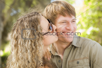 Happy Attractive Loving Couple Portrait in the Park.