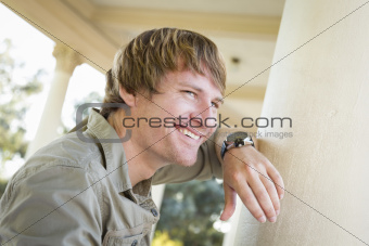 Handsome Smiling Young Adult Man Portrait Outside.