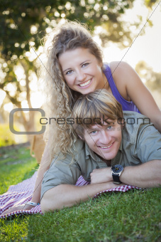 An Attractive Couple Enjoying A Day in the Park Together.