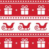 Christmas card, seamless pattern with santa&#39;s sledges and present