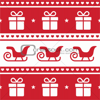 Christmas card, seamless pattern with santa's sledges and present