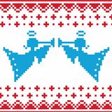 Knitted christmas vector angles card on seamless background