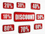 discount and different percentages in red banners
