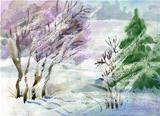 Watercolor Landscape Collection: Winter