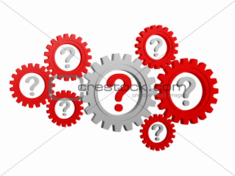 question-marks in gearwheels