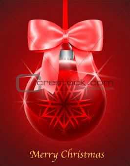 Christmas card with red glossy Christmas ball