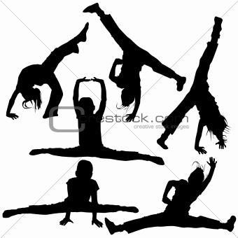 gym girls silhouettes