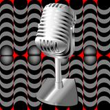 microphone on a retro pattern