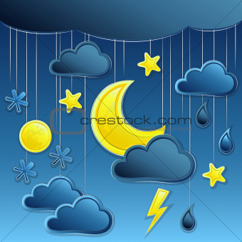 vector background with night weather icon