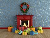  christams room with fireplace