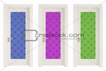 three classic doors with leather upholstery