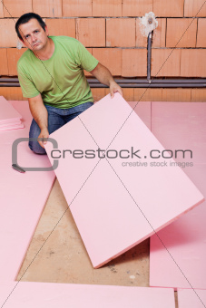 Laying insulation layer in a new house