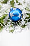 Christmas bauble on snowy branch
