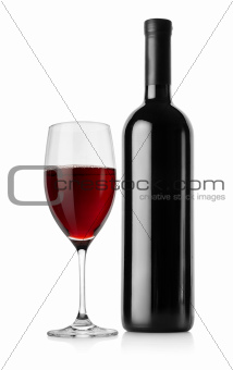 Bottle of red wine and wineglass