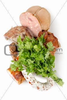Cooked meat and sausages isolated