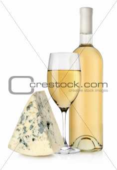 Wine bottle and blue cheese