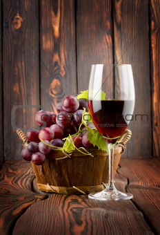 Wine glass and grapes in a basket