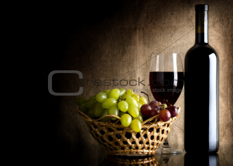 Wine on the old background
