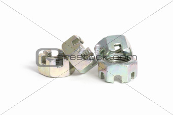 Four new steel castellated nuts