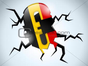 Euro Money Crisis Belgium Flag Crack on the Floor