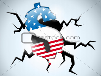 Dollar Money Crisis United States of America Flag Crack on the F