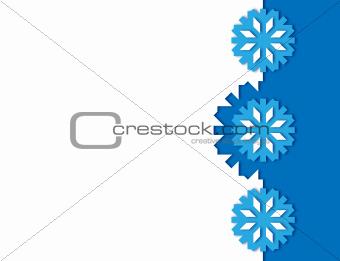 Three blue snowflakes