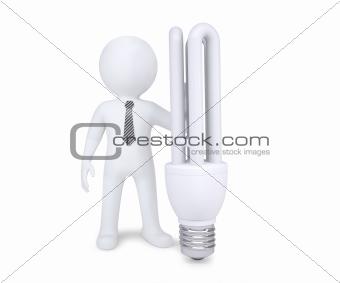 White man next to energy saving bulbs