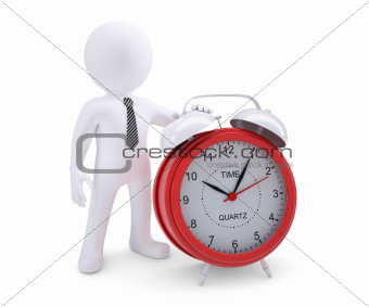 White man next to the red alarm clock