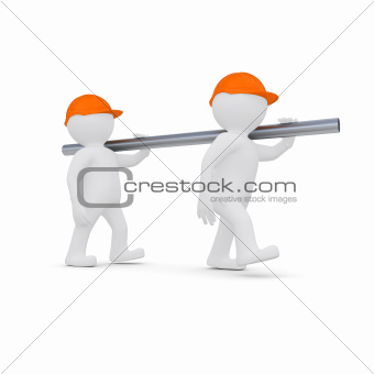 Two workers in helmets are a metal pipe
