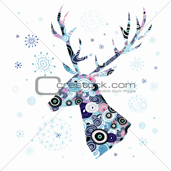 Decorative portrait of deer