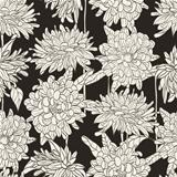 Seamless floral pattern with hand drawn chrysanthemum