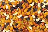 background of mixture of nuts and raisins