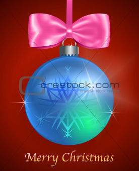 Christmas card with blue glossy Christmas ball