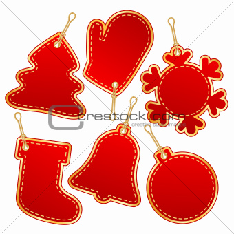 christmas red label design elements