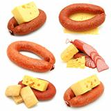 sausage and cheese collection isolated on white background