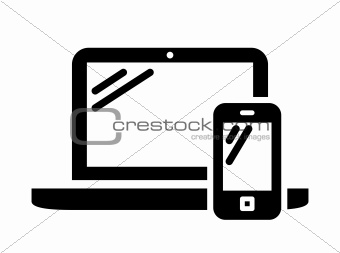 Laptop and mobile phone sign