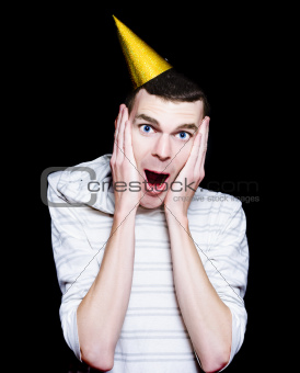 Isolated Young Man At A Surprise Birthday Party