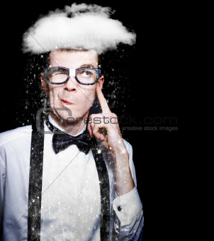 Smart Person Brainstorming Thought With Rain Cloud