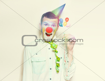 Vintage Clown With Birthday Balloons And Streamers