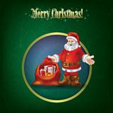 Christmas grunge greeting with Santa Claus