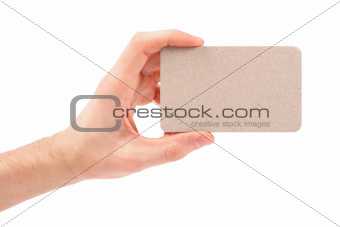 blank business card in hand isolated on white