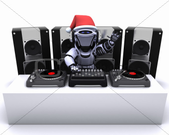 Christmas Robot  DJ mixing records on turntables