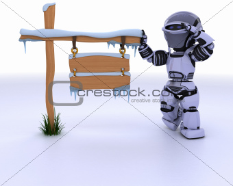 robot with a frozen blank road sign