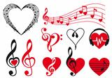 music hearts, vector 