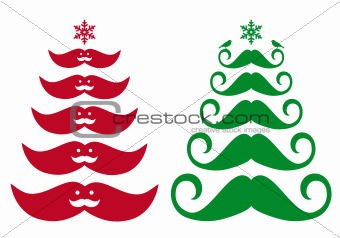 Mustache Christmas tree, vector