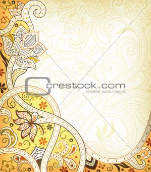 Abstract Yellow Floral Curve