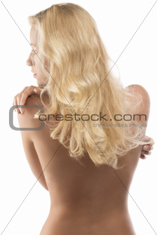 naked blonde girl turned back