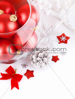 christmas red balls with festive tinsel