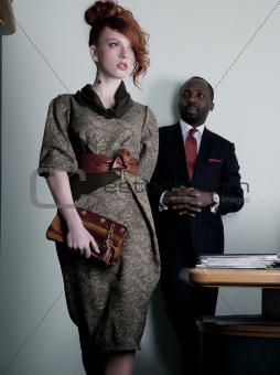 Lovely red head freckled businesswoman and black american man