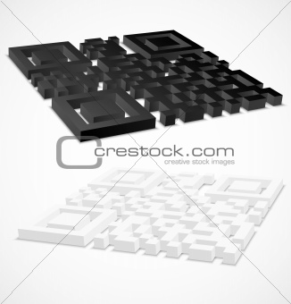 3d black and white qr code